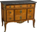 Furniture , A French Transitional Louis XV-XVI Parquetry Inlaid and Gilt Bronze-Mounted Commode with Marble Top in the Manner of Paul Sorm...