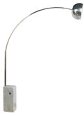Decorative Arts, Continental:Other , A Stainless Steel, Aluminum and Marble Arco Floor Lamp for Flos,Brescia, Italy, 21st century. Marks: label to reflector - F...