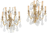 A Set of Four Louis XV-Style Gilt Bronze Five-Light Sconces with Cut Crystal Prisms, 20th century 18 x 16 x 10-1/