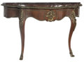 Furniture : French, A Louis XV-Style Gilt Bronze-Mounted Console with Marble Top, 19th century. 29-3/4 x 48-3/4 x 15-1/2 inches (75.6 x 123.8 x...
