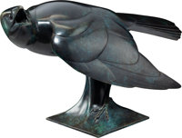 Geoffrey Dashwood (British, b. 1947) Carrion Crow Bronze with blue patina 10-1/2 x 16-1/2 x 9 inc