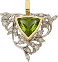 Estate Jewelry:Pendants and Lockets, Peridot, Diamond, Gold Pendant-Brooch. ...