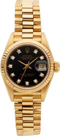 Timepieces:Wristwatch, Rolex Ref. 69178 Lady's Diamond Dial Gold Oyster PerpetualDatejust. ...
