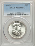 Franklin Half Dollars, 1963-D 50C MS65 Full Bell Lines PCGS. PCGS Population: (1163/116). NGC Census: (415/27). CDN: $100 Whsle. Bid for problem-f...