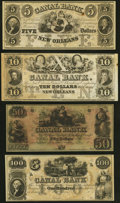 Obsoletes By State:Louisiana, New Orleans, LA- New Orleans Canal and Banking Company $5; $10; $50; $100 18__ Remainders Crisp Uncirculated.. ... (Total: 4 notes)