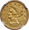 1854-C $2 1/2 AU53+ NGC. Variety 1, The Sole Die Pair....(PCGS# 7770)