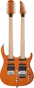 Musical Instruments:Electric Guitars, Carvin Double Neck Amber Solid Body Electric Guitar, Serial # 24133....