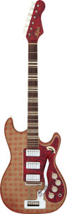 Musical Instruments:Electric Guitars, Circa 1965 Hofner Deluxe 175 Red & Gold Solid Body ElectricGuitar, Serial # N/A....