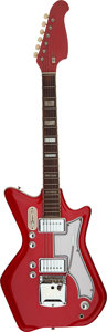 Musical Instruments:Electric Guitars, Circa 1965 Airline Res-o-glas Red Solid Body Electric Guitar, Serial # N/A....