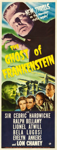 "Movie Posters:Horror, The Ghost of Frankenstein (Universal, 1942). Very Fine- on Paper. Insert (14"" X 36"").. ..."