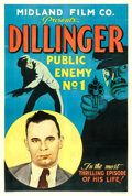 """Movie Posters:Crime, Dillinger: Public Enemy No.1 (Midland Film Co., 1934). Fine/Very Fine on Linen. One Sheet (28"""" X 41.5"""").. ..."""