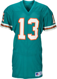 Mid 1980's Dan Marino Game Worn Miami Dolphins Uniform with Handwarmer Pockets & Equipment Manager Letter