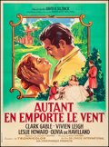 "Movie Posters:Academy Award Winners, Gone with the Wind (MGM, R-1954) Fine/Very Fine on Linen. FrenchGrande (46.5"" X 63"") Roger Soubie Artwork. Academy Award Wi..."