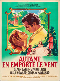 """Gone with the Wind (MGM, R-1954) Fine/Very Fine on Linen. French Grande (46.5"""" X 63"""") Roger Soubie Artwork. Ac..."""
