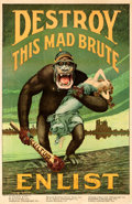 "Movie Posters:War, World War I Propaganda (U.S. Government, 1917). Fine on Linen. Recruitment Poster (27"" X 41.5"") ""Destroy This Mad Brute,"" Ha..."