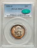 Washington Quarters, 1951-S 25C MS67+ PCGS. CAC. PCGS Population: (165/1 and 29/0+). NGC Census: (327/7 and 5/0+). CDN: $125 Whsle. Bid for prob...