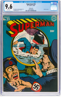 Superman #23 Pennsylvania Pedigree (DC, 1943) CGC NM+ 9.6 White pages