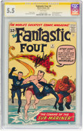 Silver Age (1956-1969):Superhero, Fantastic Four #4 Signature Series (Marvel, 1962) CGC FN- 5.5 White pages....