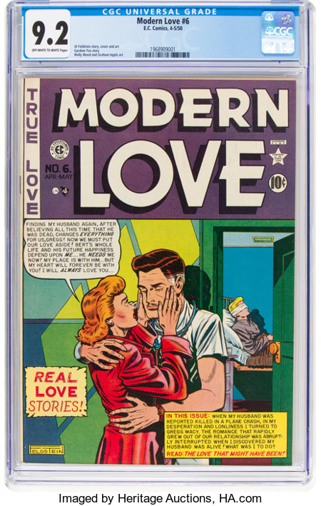 Modern Love #6 (EC, 1950) CGC NM- 9.2 Off-white to white pages....