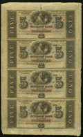 Obsoletes By State:Louisiana, New Orleans, LA- Citizens' Bank $5-$5-$5-$5 18__ Uncut Sheet Choice About Uncirculated.. ...