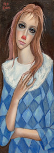 Fine Art - Painting, American:Modern  (1900 1949)  , Margaret Keane (American, b. 1927). Young Girl as Clown. Oilon canvas. 22 x 8 inches (55.9 x 20.3 cm). Signed upper lef...