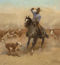 Paintings:20th Century, Jack N. Swanson (American, b. 1927). Working a Colt, 1975. Oil on Masonite. 30 x 28 inches (76.2 x 71.1 cm). Signed and ...