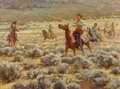Paintings, Julian Robles (American, b. 1933). Taos Rabbit Hunt. Oil on canvas. 18 x 24 inches (45.7 x 61.0 cm). Signed and inscribe...