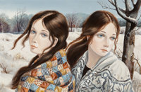 Pati Bannister (American, 1929-2013) Pair of Portraits Oil on Masonite, each 12 x 18 inches (30.5