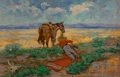 Fine Art - Painting, American, American School (Early 20th-Century). Texas Badlands. Oil onpanel. 22-1/2 x 34-1/2 inches (57.2 x 87.6 cm). Signed lowe...