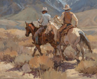 Suzanne Baker (American, b. 1939) Cowboys of Crowley Oil on canvas 26 x 32 inches (66.0 x 81.3 cm