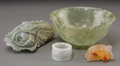 Asian:Chinese, A Group of Four Jadeite and Hardstone Items. 2-1/8 inches high x 4-5/8 inches diameter (5.4 x 11.7 cm) (bowl). ... (Total: 4 Items)