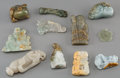 Asian:Chinese, A Group of Eleven Chinese Carved Hardstone and Jadeite Pendants and Smalls. 3-3/8 inches (8.6 cm) (longest). ... (Total: 11 Items)