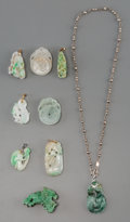 Asian:Chinese, A Group of Nine Chinese Carved Jade and Jadeite Small Pendants. 1-3/4 inches high (4.4 cm) (tallest). ... (Total: 9 Items)