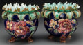 Ceramics & Porcelain, Continental:Antique  (Pre 1900), A Pair of French Majolica Jardinières, late 19th- early 20th century. 9-1/8 inches high (23.2 cm). ... (Total: 2 Items)
