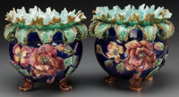 A Pair of French Majolica Jardinières, late 19th- early 20th century 9-1/8 inches high (23.2 cm)