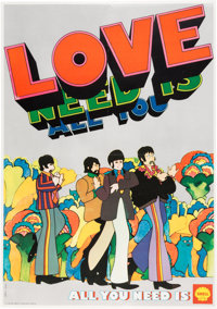 "Beatles Yellow Submarine ""All You Need is Love All You Need is Shell"" Advertising Poster (Be"