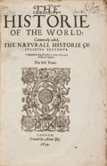 Books:Natural History Books & Prints, [Pliny the Elder]. The Historie of the World. Commonly called, The Natural History of C. Plinius Secundus. Transla...