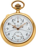 Timepieces:Pocket (post 1900), J.E. Caldwell & Co., Fine 18k Gold Split Second Chronograph With Register, circa 1905. ...