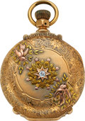 Timepieces:Pocket (pre 1900) , Waltham, Massive 14k Gold 18 Size Multicolor Gold Box Hinge Hunter,circa 1888. ...