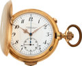 Timepieces:Pocket (post 1900), Swiss, 14k Gold Minute Repeater With Chronograph, circa 1890. ...