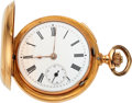 Timepieces:Pocket (pre 1900) , Swiss, 18k Gold Quarter Hour Repeater With Hidden Erotic Automaton For Restoration, circa 1890. ...