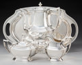 Silver & Vertu:Coffee Pots, A Four-Piece R. Wallace & Sons Mfg. Co. Washington Pattern Silver Coffee Service, Wallingford, Connecticut, earl... (Total: 4 Items)