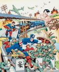 Original Comic Art:Paintings, Alex Schomburg - Captain America, Bucky, and Sub-Mariner Original Art Painting (1986)....