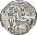 Ancients: CALABRIA. Tarentum. Ca. 340-332 BC. AR stater or didrachm (21mm, 7.91 gm, 6h). NGC AU 5/5 - 2/5, Fine Style, s...