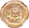 Ancients:Byzantine, Ancients: Justinian I the Great (AD 527-565). AV solidus (20mm,4.46 gm, 5h). NGC Choice MS 5/5 - 5/5....