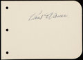 "Autographs:Index Cards, Paul ""Big Poison"" Waner Signed Album Page...."