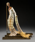 Bronze:European, Erté (Romain de Tirtoff) (Russian/French, 1892-1990). Melisandre, 1990. Gilded and cold painted bronze. 17-7/8 inches (4...