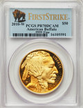 2010-W $50 One-Ounce Gold Buffalo, First Strike PR70 Deep Cameo PCGS. PCGS Population: (1228). NGC Census: (1946)
