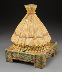 A George Jones & Sons Majolica Bee Hive-Form Cheese Stand and Cover, Stoke-on-Trent, Staffordshire, England, 187...