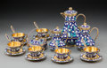 Decorative Arts, Continental:Other, A Twenty-Two-Piece Soviet-Era Russian Partial Gilt and CloisonnéEnameled Silver Coffee and Tea Service in Original Fitted Cas...(Total: 22 Items)